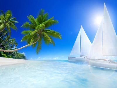 Tropical Landscape Ocean Islands Beaches Palm Trees Boats ...
