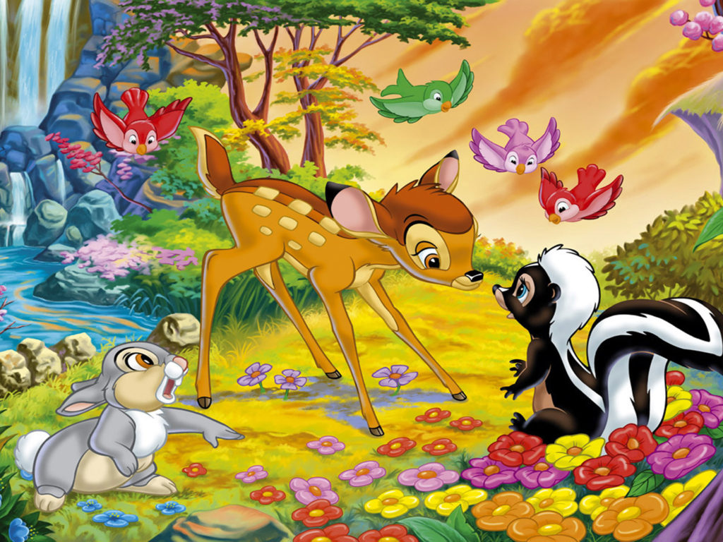 Disney Christmas Iphone Wallpaper Cartoon Walt Disney Bambi Thumper And Flower Disney Hd