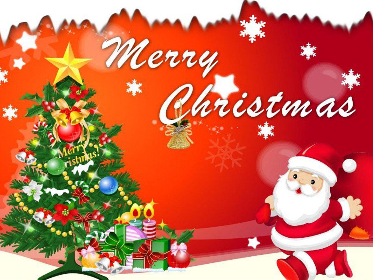 Free Cute Christmas Desktop Wallpaper Merry Christmas Santa Claus Christmas Tree Decorations