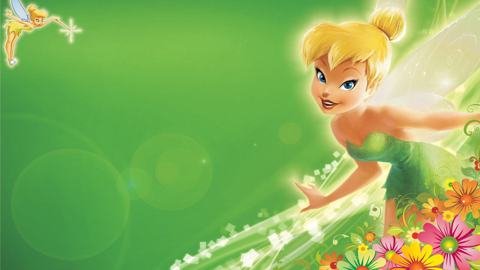 Animated Waterfall Wallpapers For Mobile Tinkerbell Green Hd Wallpapers With Flower Decoration For