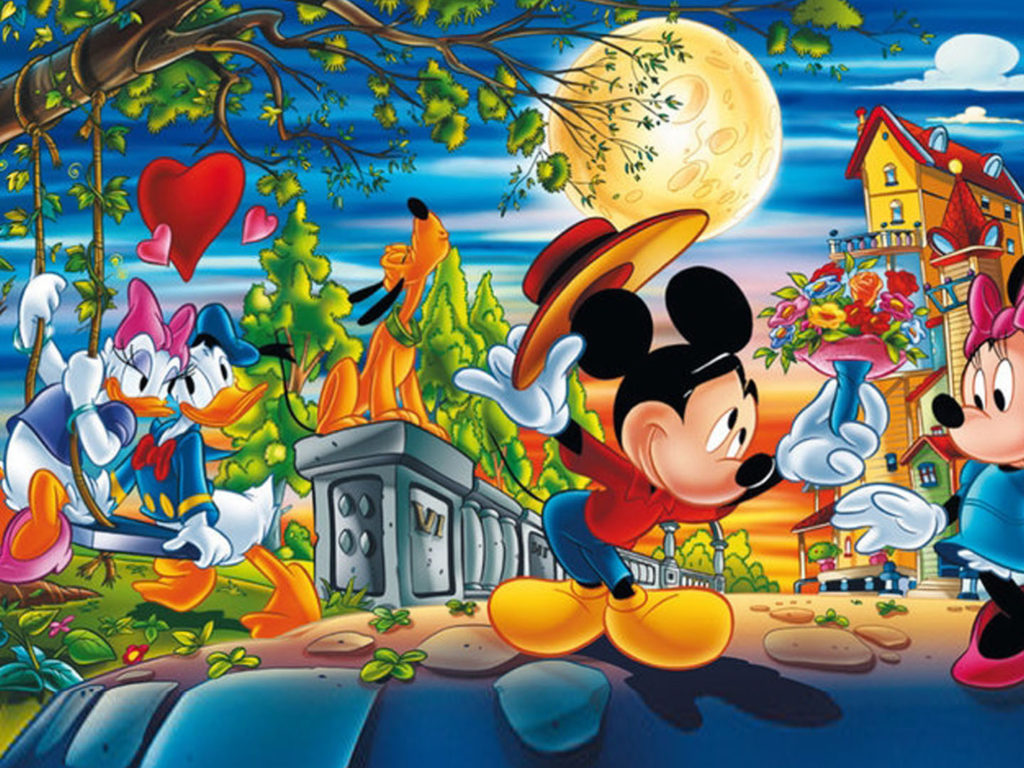 Heart Wallpaper Hd Free Download Valentine Day Cartoons Mickey With Minnie Mouse And Donald