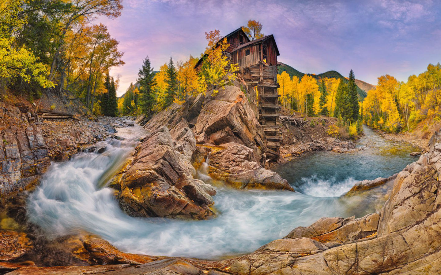 Tablet Wallpaper Europe Fall Crystal Mill And River Colorado Usa Autumn Landscape Hd