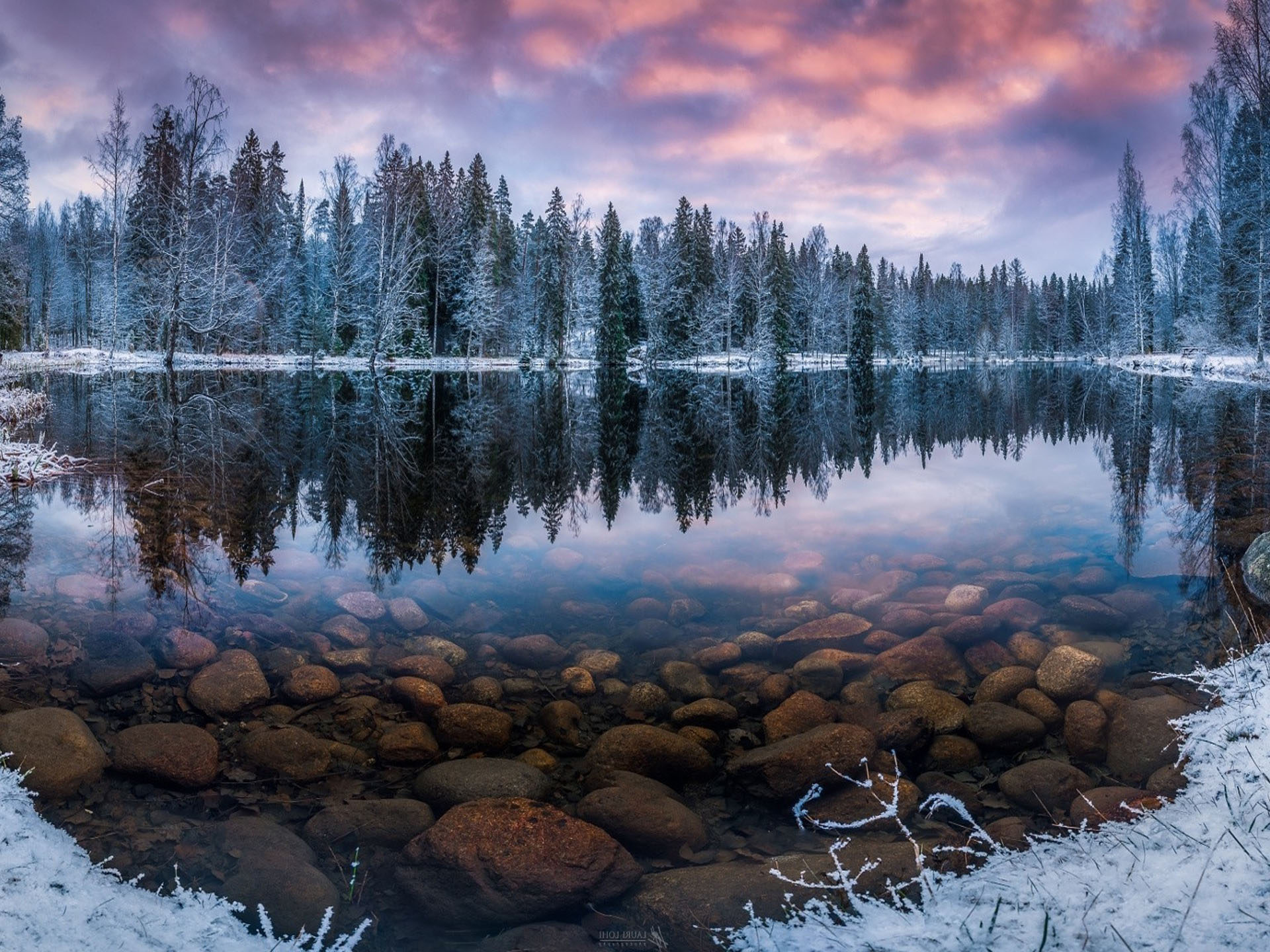 Fall Wallpaper Lake Finland Nature Landscape Winter Snow Morning Sunrise