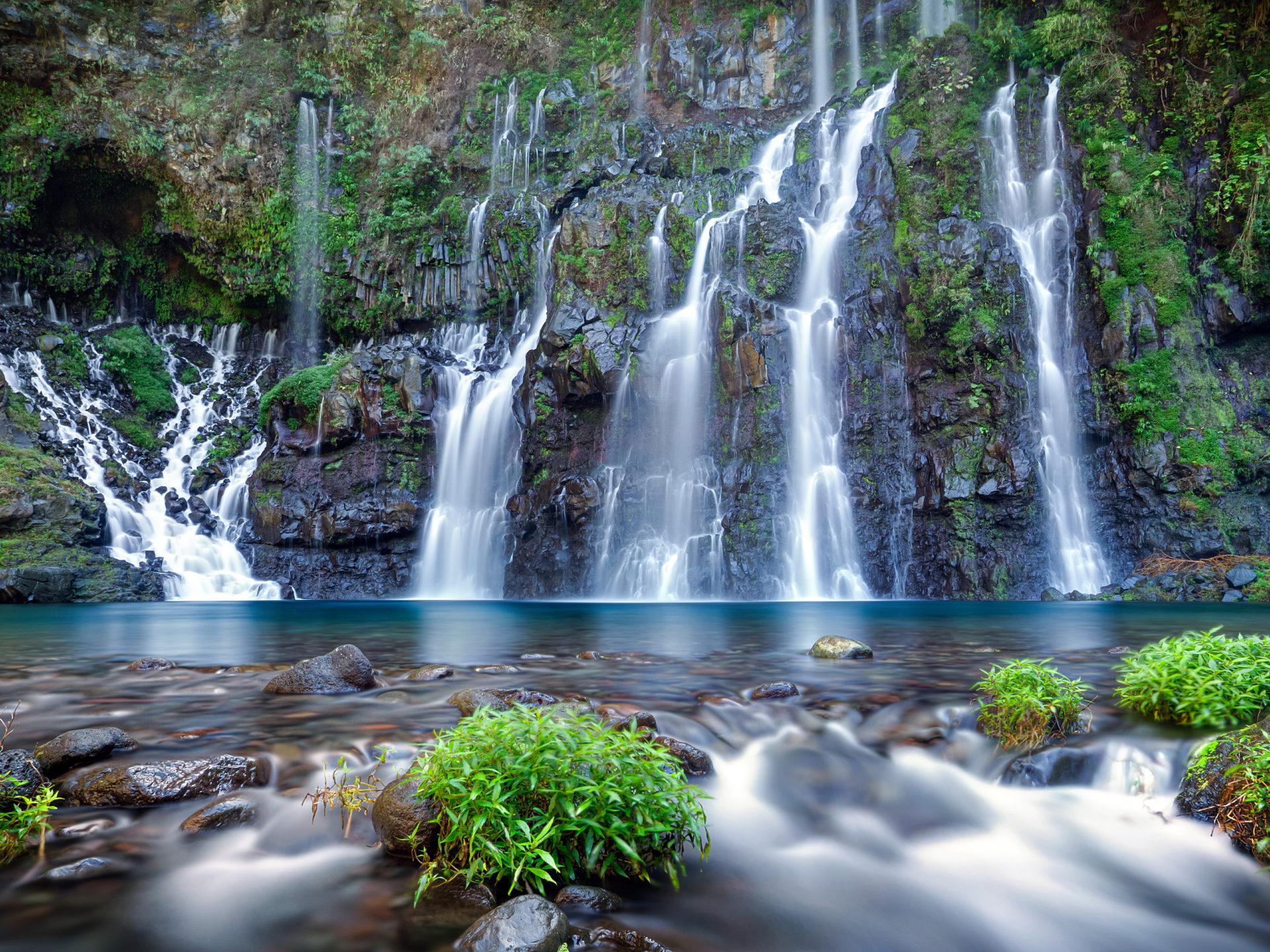 Waterfalls Desktop Wallpaper Forest Falls Langer River Falls Lakes Reunion Island Famous For Its