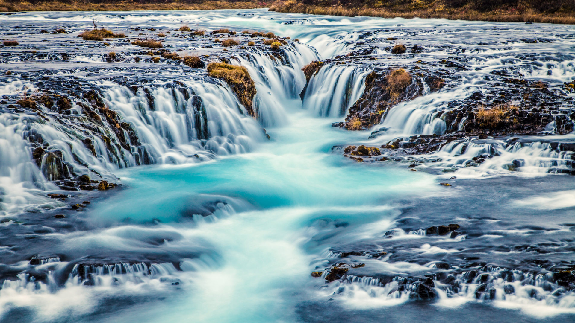 Free Fall Disney Wallpaper Bruarfoss Waterfall Turquoise Blue Water In Iceland Nature