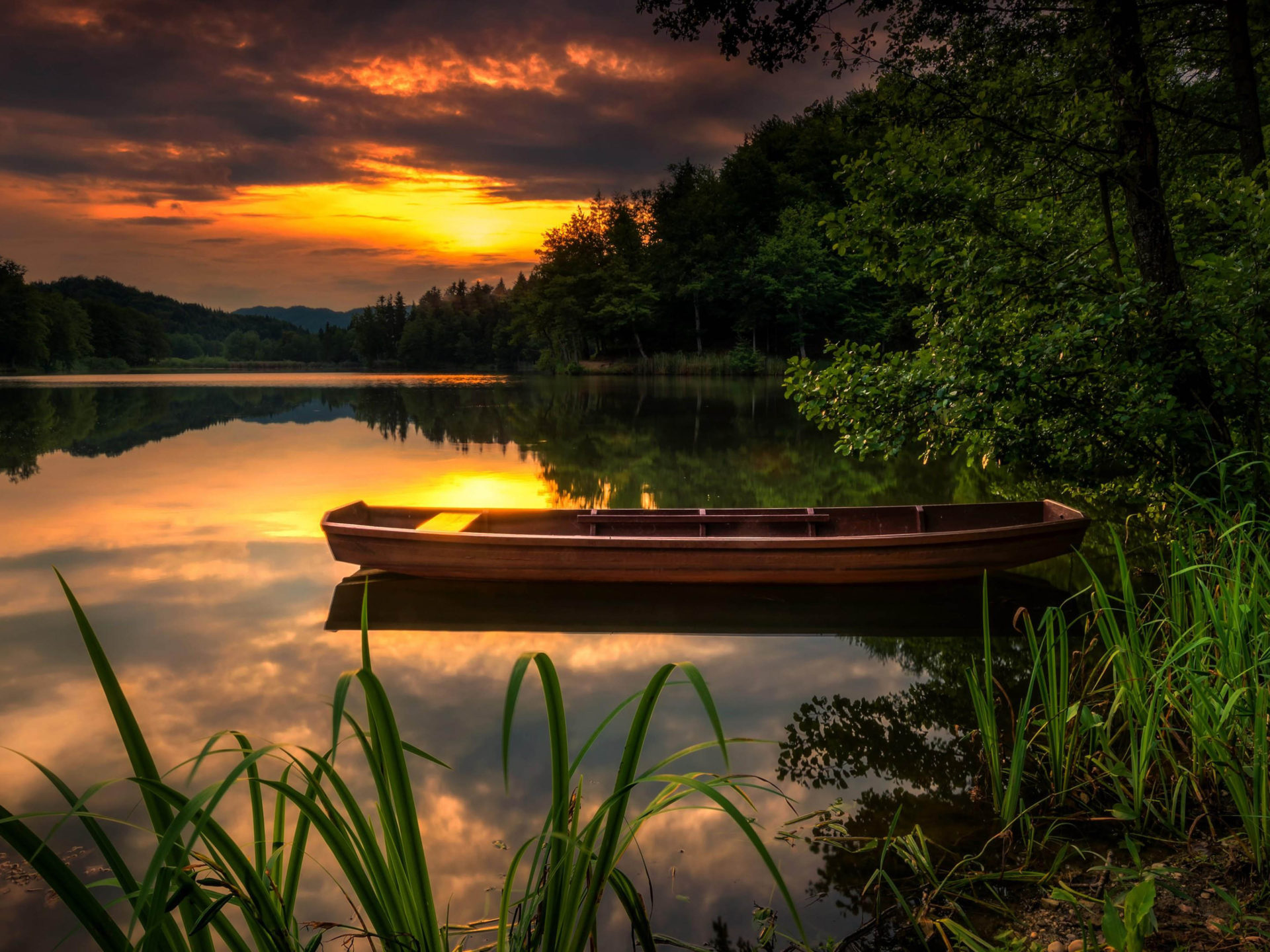 Mountain Wallpaper Iphone X Landscape Nature Sunset Orange Sky Forest Lake Boat Green