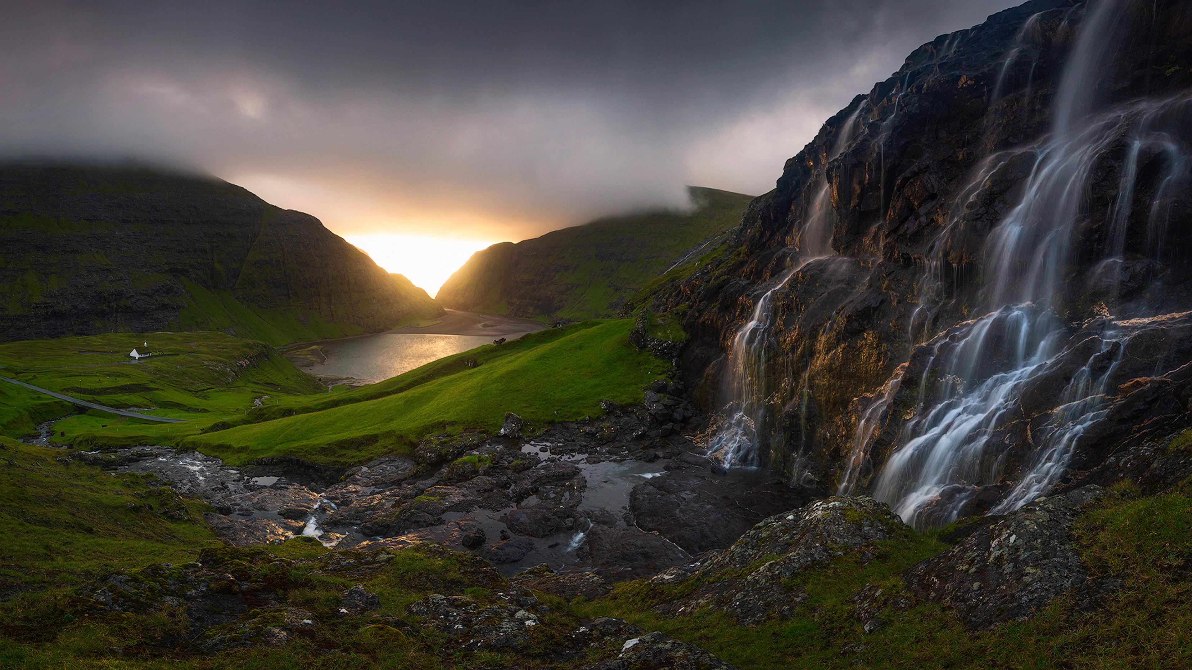 Falls Hd Wallpaper Free Download Faroe Islands Waterfall At Sunset Island Country Panorama