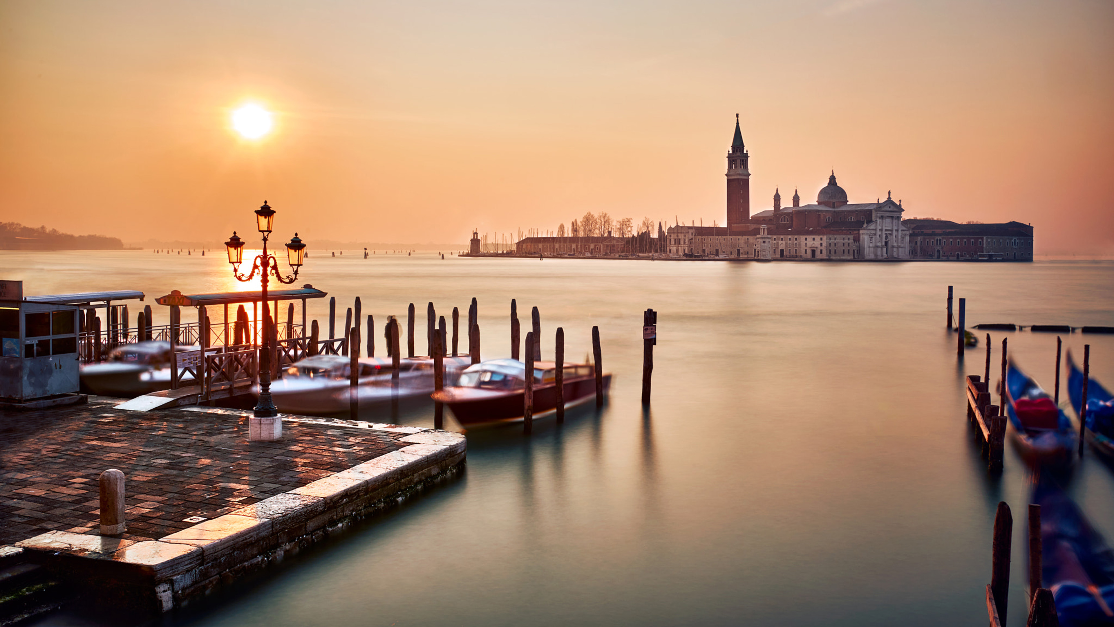 San X Iphone Wallpaper Venice Italy Piazza San Marco Sunset Orange Sky Sea Water