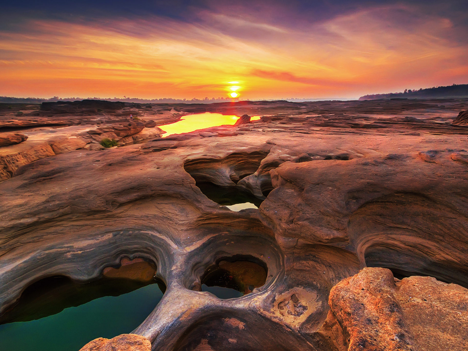 Hd Wallpaper 1920x1080 Beach Sunset Landscape Sam Phan Bok Grand Canyon Of Thailand