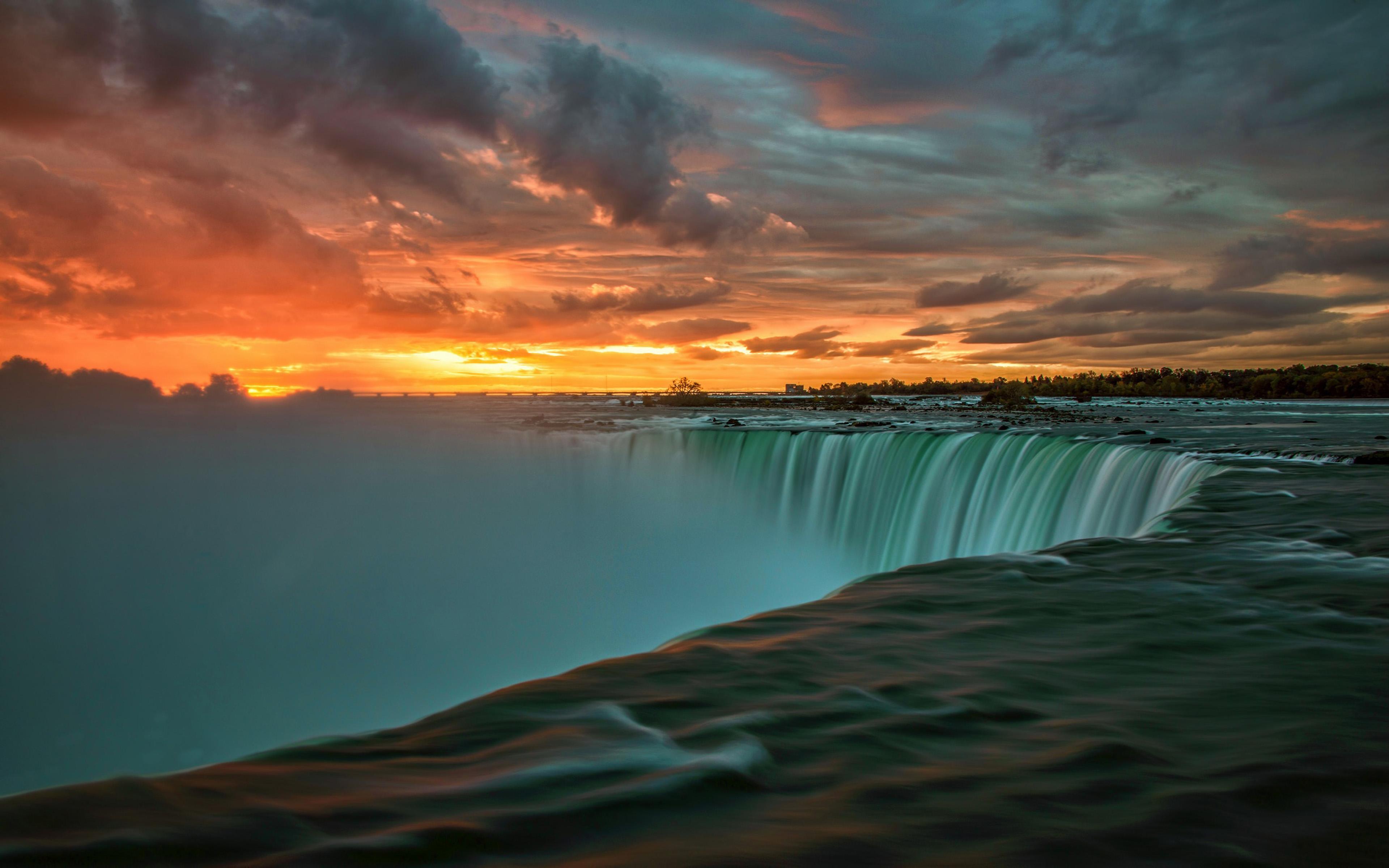Niagara Falls Wallpaper 1366x768 Niagara Falls In Canada Sunset Landscape Nature 4k Ultra