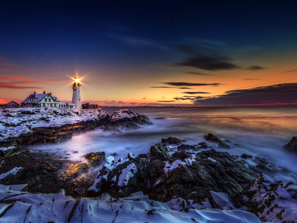 Get Iphone X Wallpaper Lighthouse Ln Portland Maine United States во Атлантскиот