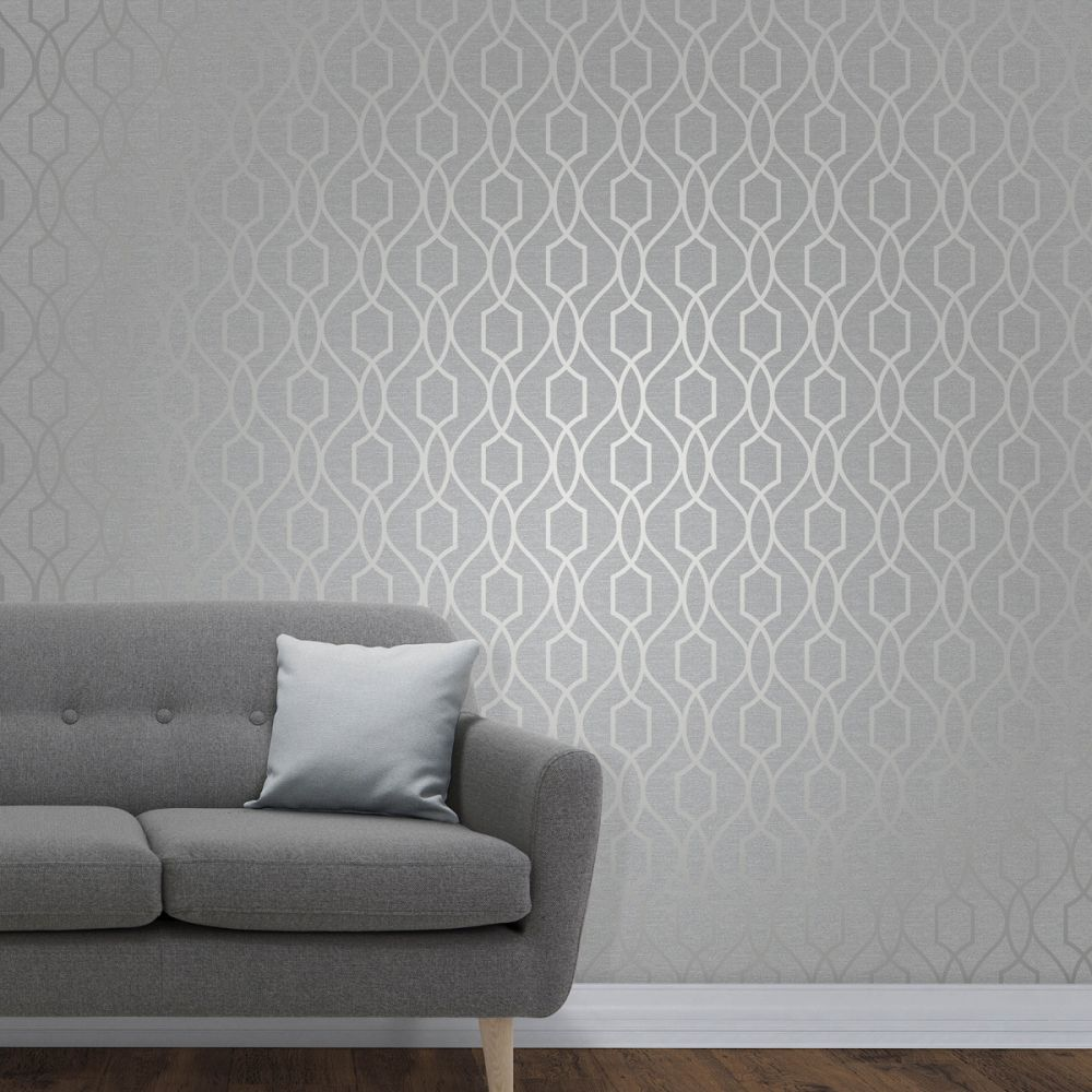 FD41995 Fine Decor Apex Trellis Stone Silver Wallpaper