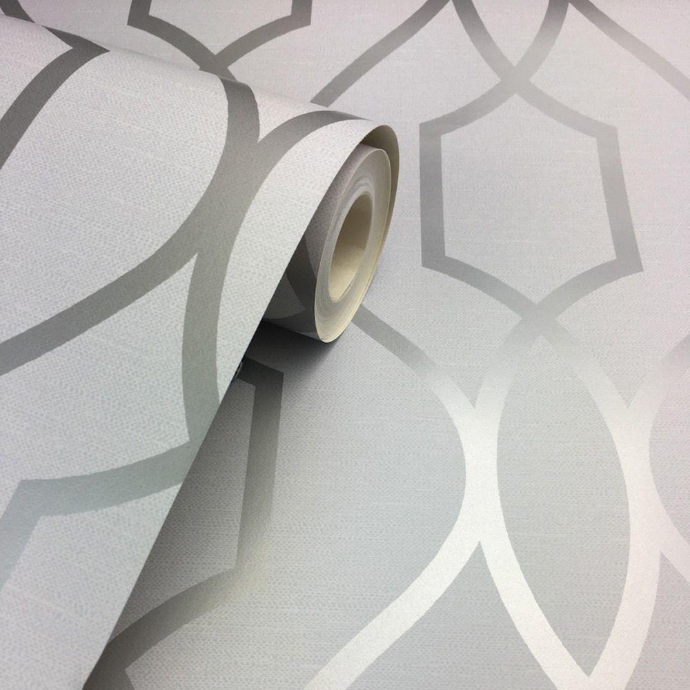 Silver Trellis Wallpaper: FD41995 Fine Decor Apex Trellis Stone Silver Wallpaper