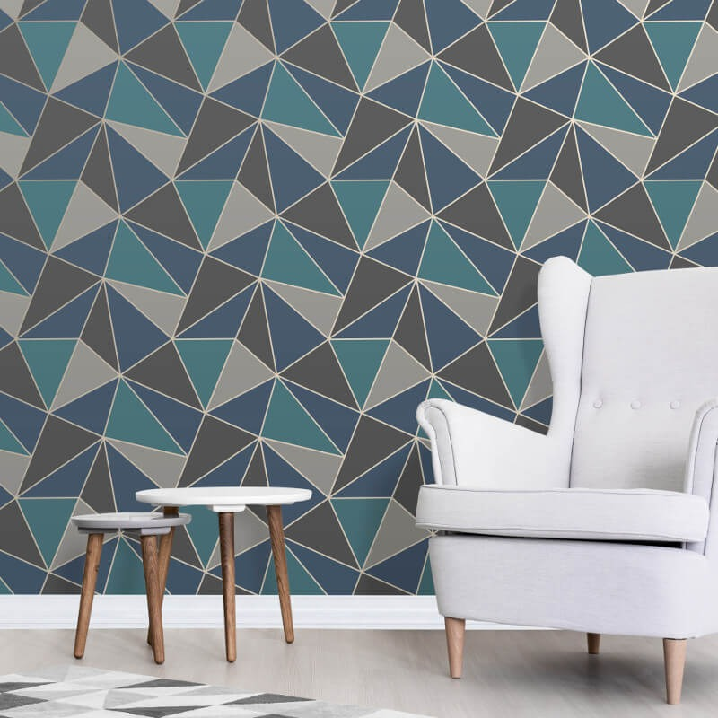 Fd42001 fine decor apex geo aqua navy geometric design for Designer wallpaper sale