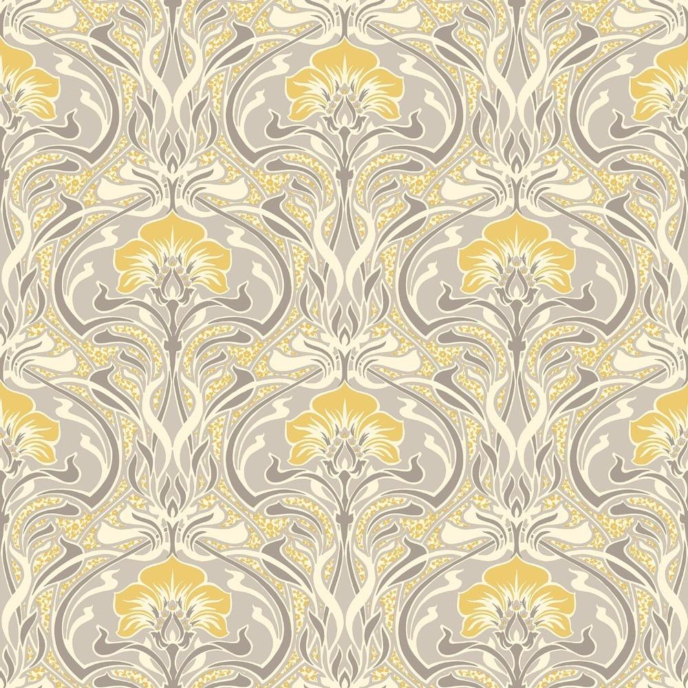 M1195 Crown Flora Nouveau Floral Yellow Wallpaper