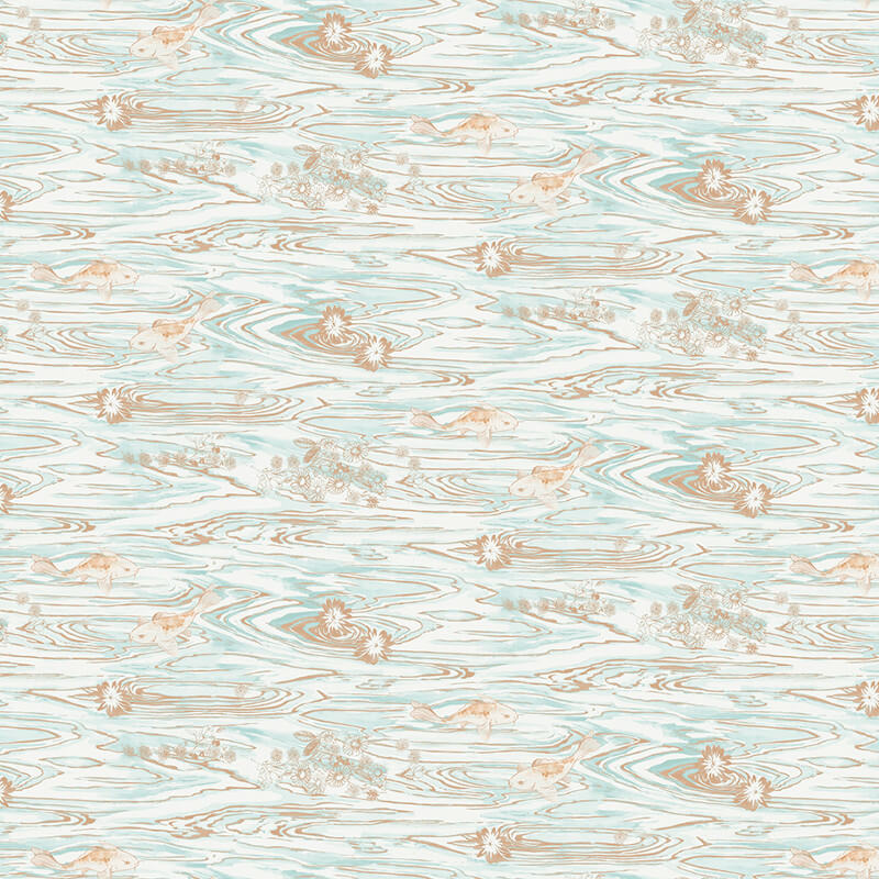 Apex Geo Wallpaper Rose Gold: NH11304 Koi Pond Mint Copper Wallpaper Senzai Wallpaper Collection