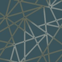 Teal/Gold Palladium Geometric Wallpaper