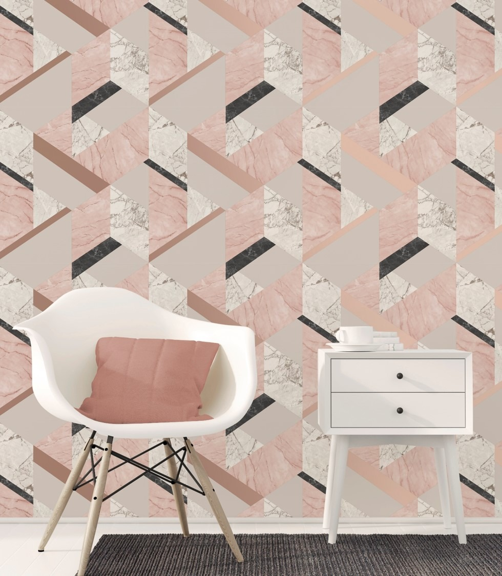 Rose Gold Marblesque Geometric Wallpaper Sales