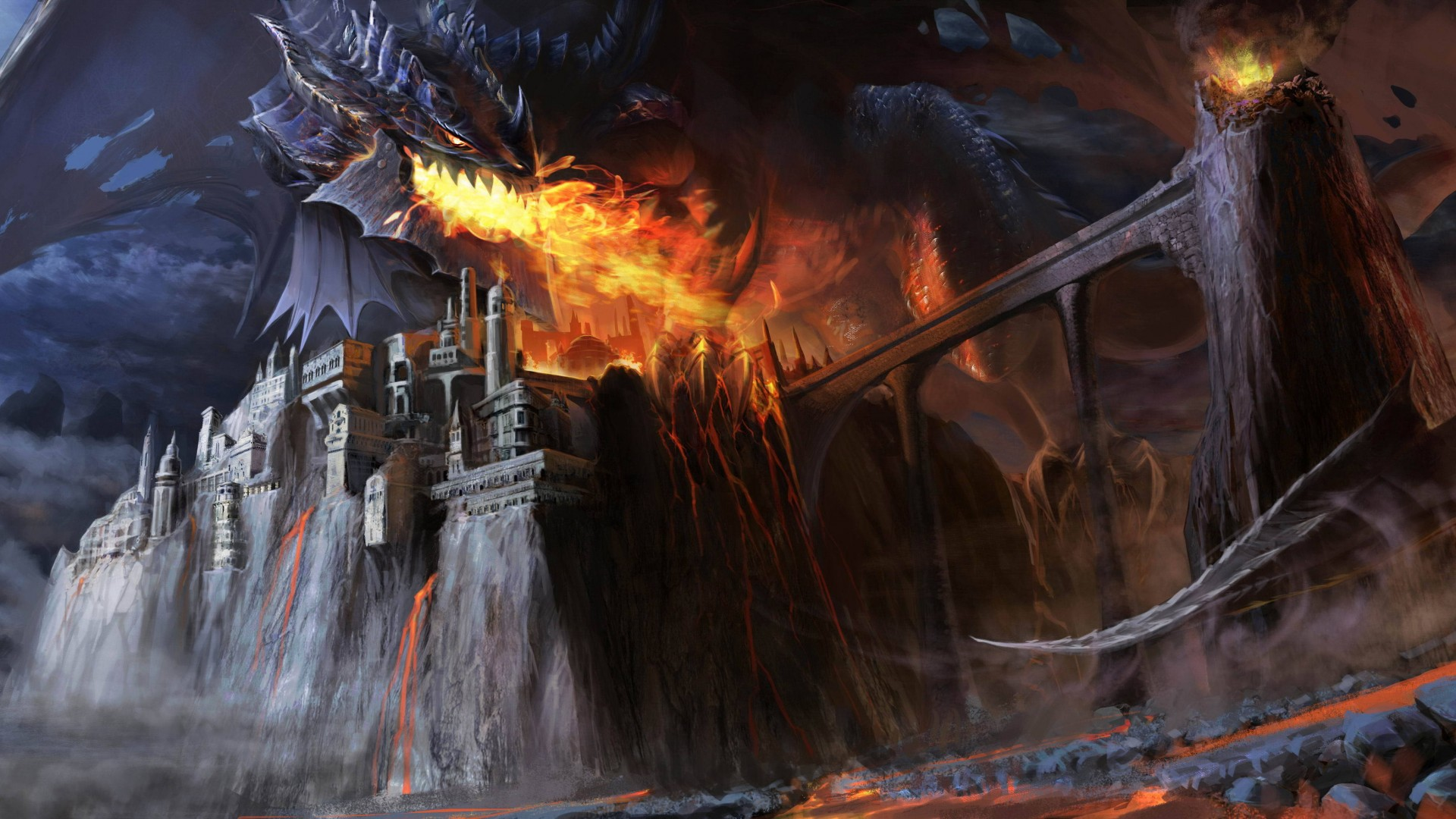 Music Festival Girl Wallpaper Wallpaper Dragon Black Fire Castle Bridge Lava Smoke