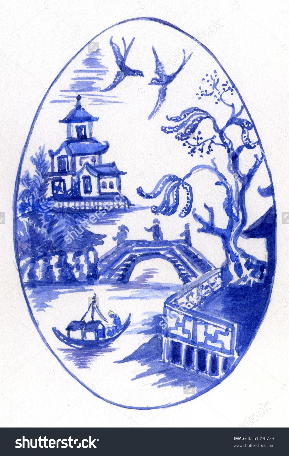 Iphone 4 Heart Wallpaper Download Blue Willow Pattern Wallpaper Gallery