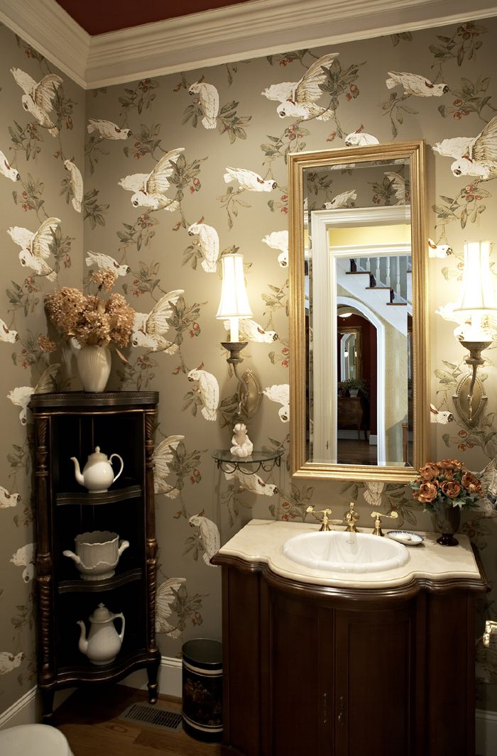 Download Dramatic Wallpaper For Powder Room Gallery