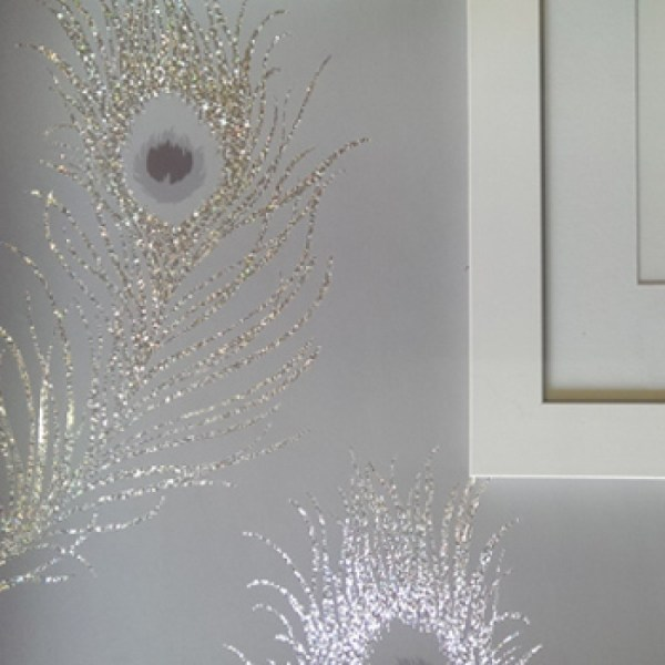 Glitter Feather Wallpaper for Walls