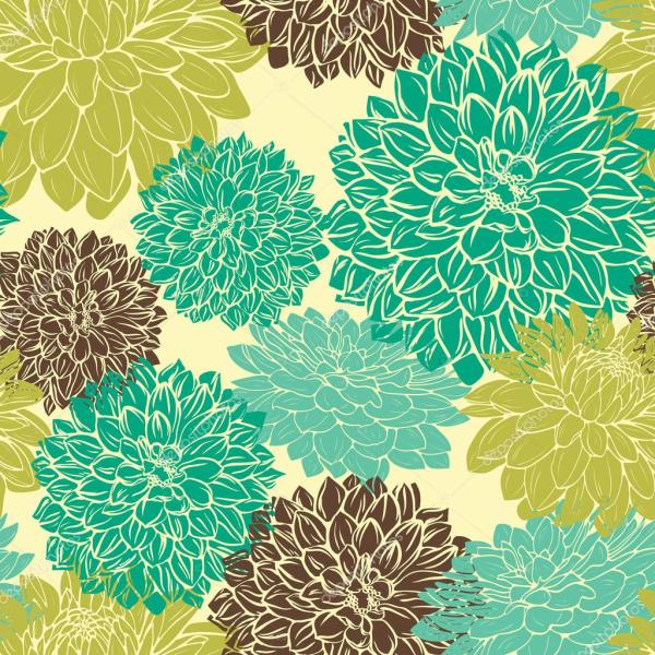 Blue and Green Flower Pattern