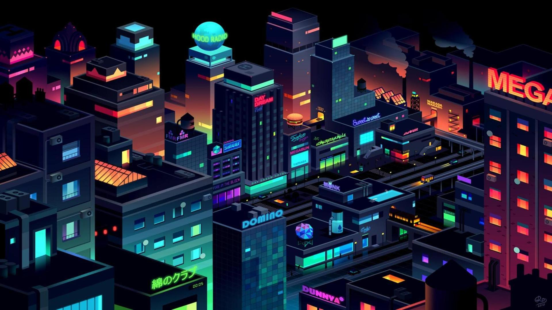 How To Make Live Wallpaper Work Iphone X Download Neon City Wallpaper Gallery
