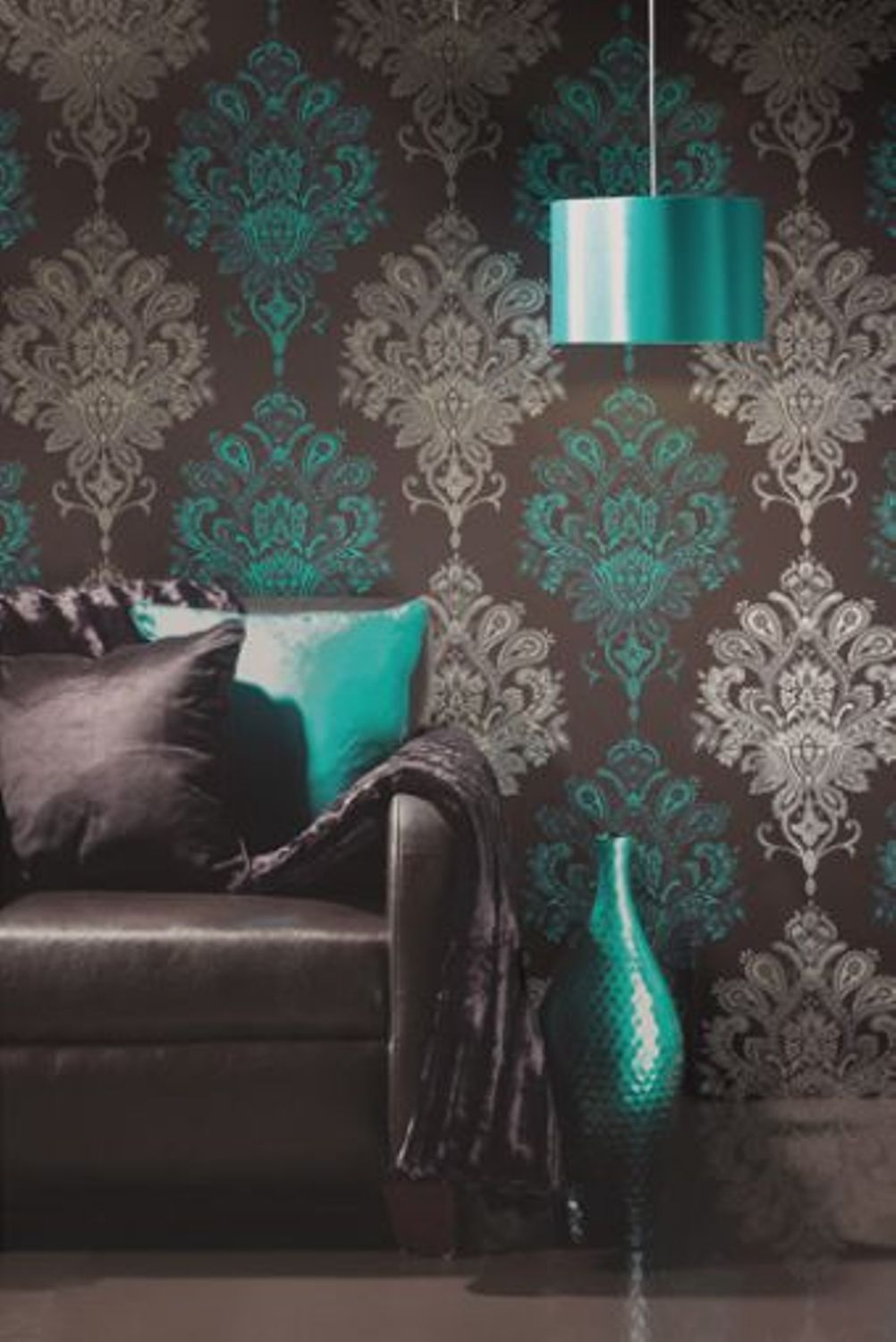 living room wall stencils uk oversized couches download teal and brown wallpaper gallery