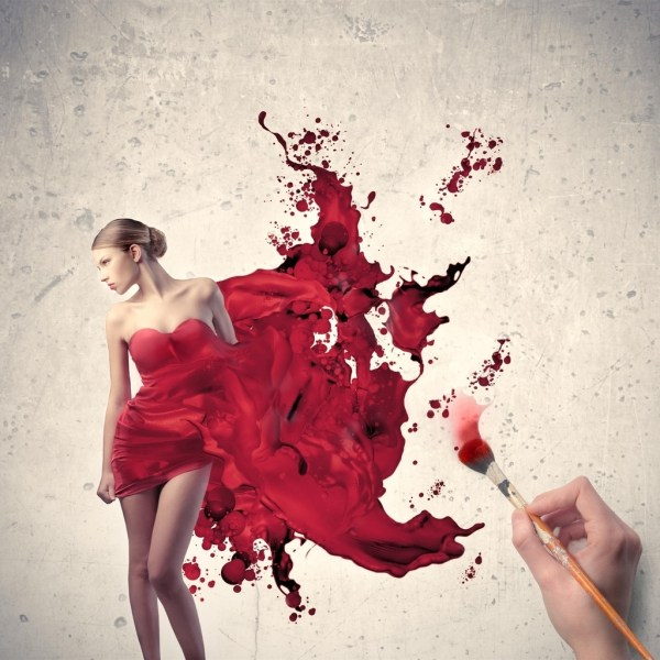 Painting Woman Red Dress