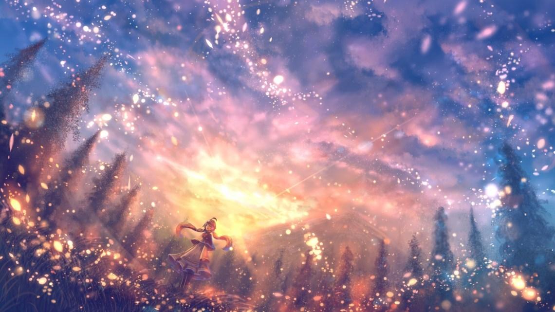 Anime Landscape Particles Scenic Pretty Beautiful Beautiful Anime Landscape 1920x1080 Download Hd Wallpaper Wallpapertip