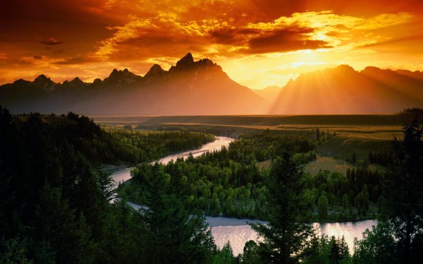 sunset mountains clouds landscapes