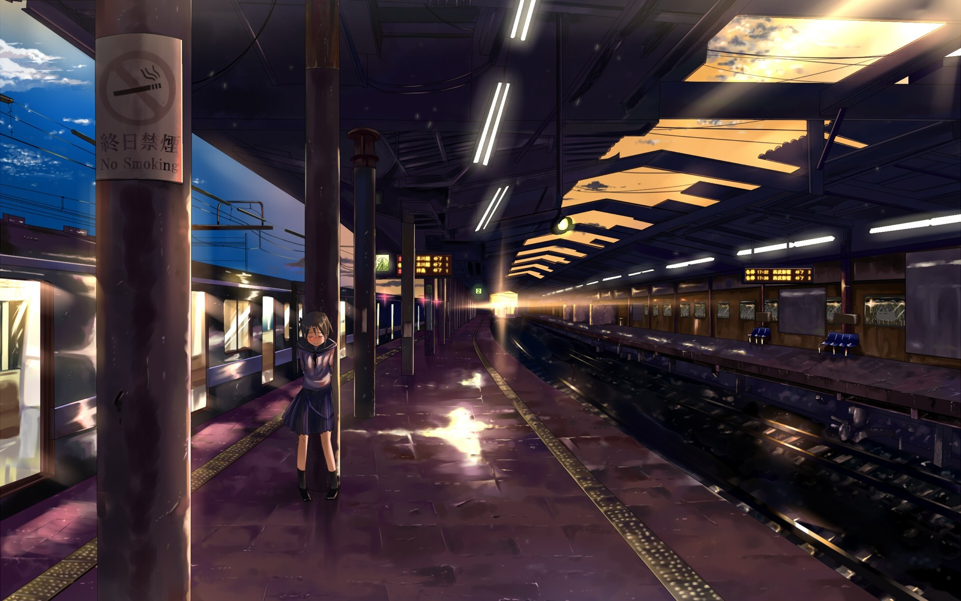 Sad Lonely Crying Girl Hd Wallpapers School Uniforms Alone Trains Skirts Train Stations Blush