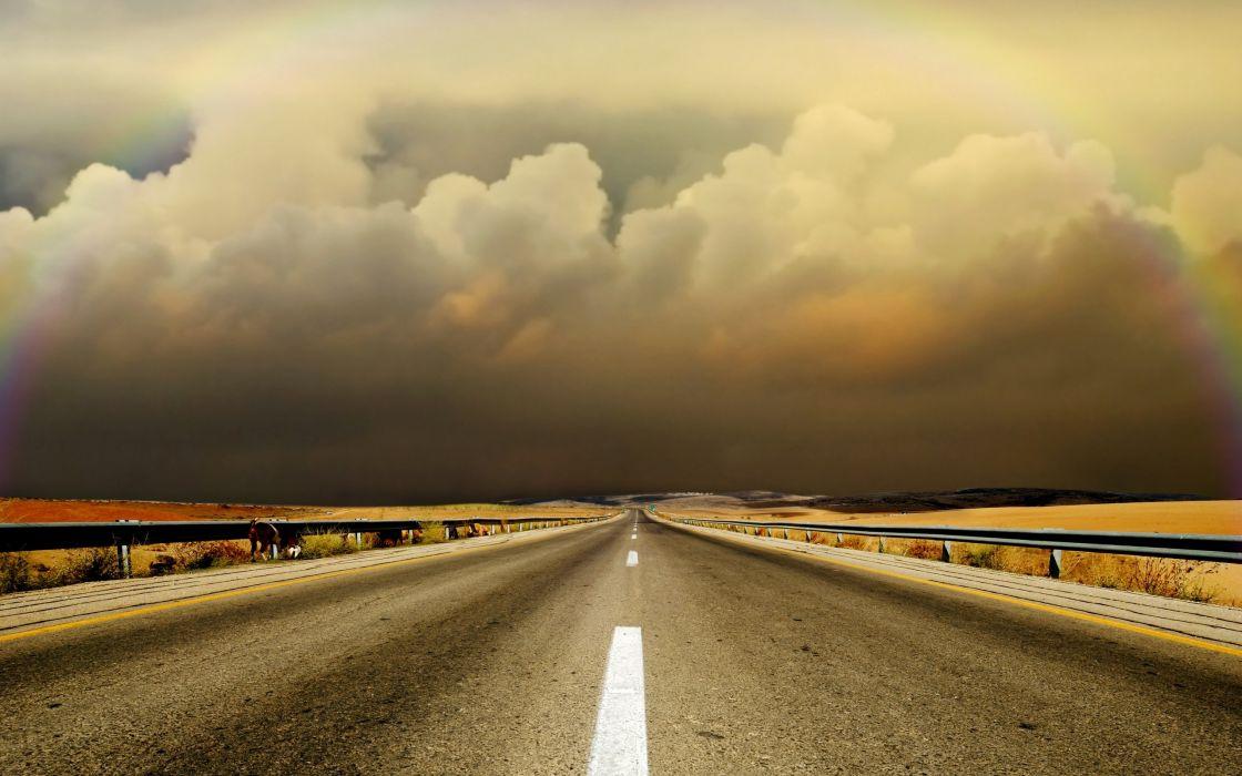 Vector Wallpaper Fall Colors Clouds Landscapes Highway Roads Wallpaper 2560x1600