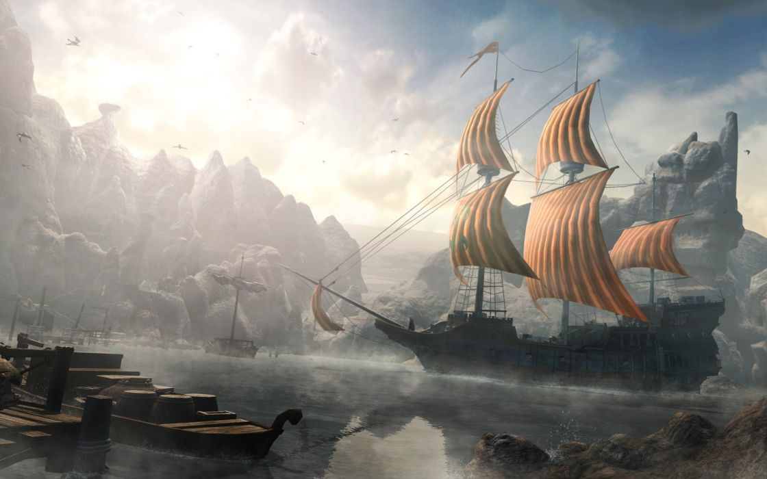 Final Fantasy Girl Wallpaper Ships Mist Fantasy Art Artwork Harbor Port Sails Wallpaper
