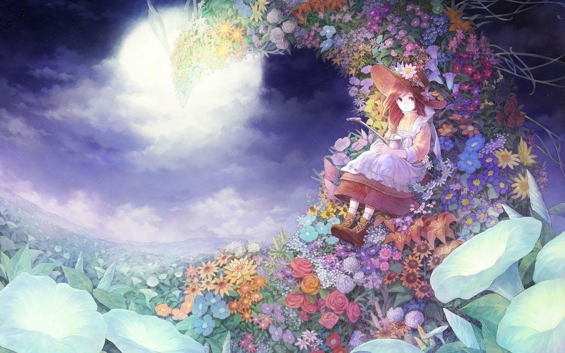Beautiful Anime Girl Fantasy Forest Wallpaper Russel Dress Female Field Flower Flower Field Full Moon