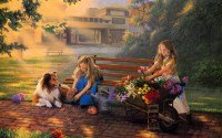 Paintings art children kids flowers cute wallpaper ...