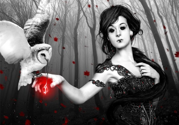Dark Fantasy Magic Gothic Women Art Cg Womken Trees Mood
