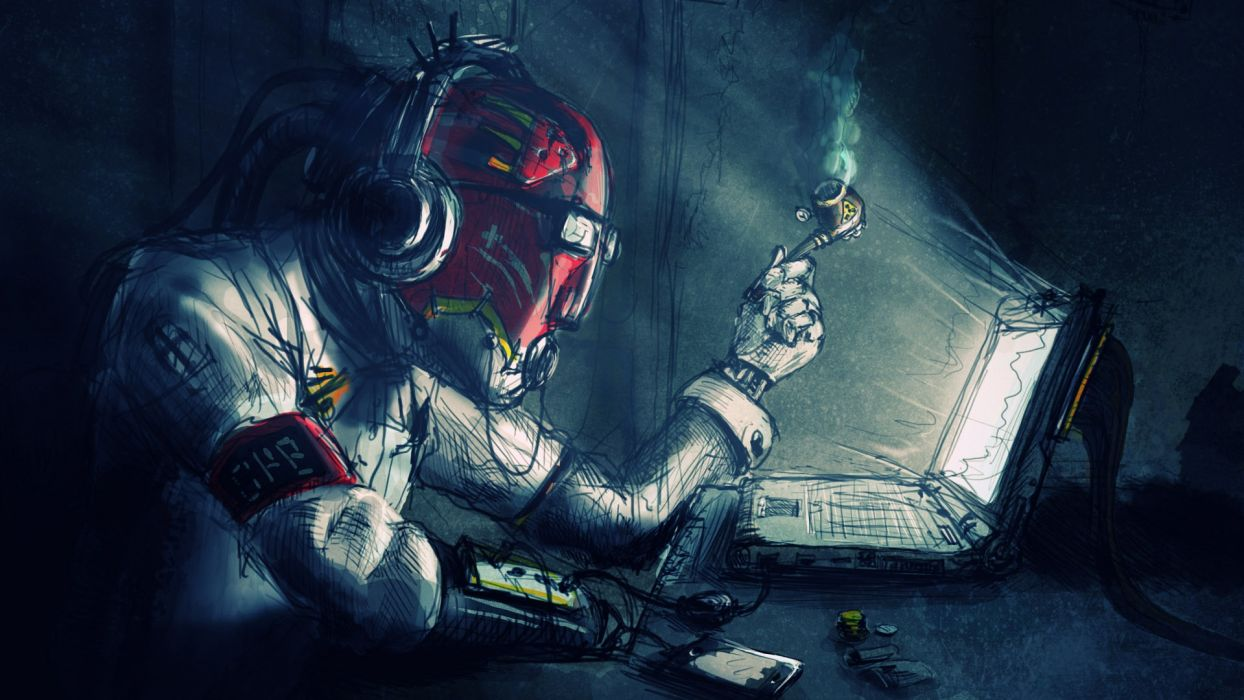 Desktop Wallpaper Hd Sci Fi Art Marijuana Toke Cyborg Humor Robot Mech Tech