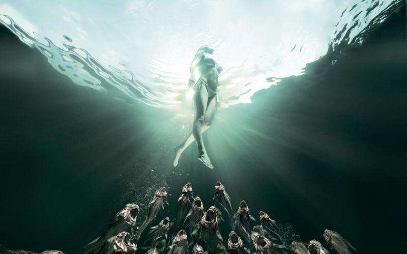 Scary 3d Wallpaper Piranha 3dd Movie Poster Dark Horror Evil Women Bikini