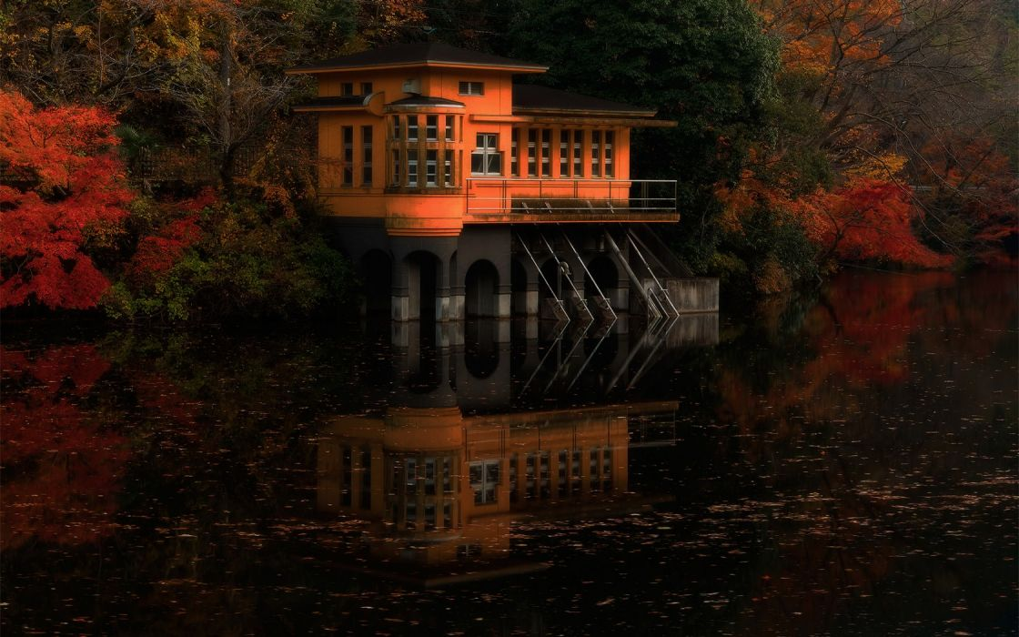 Japan Fall Wallpaper Japan Landscapes Lakes Garden House Sunset Sunrise Autumn