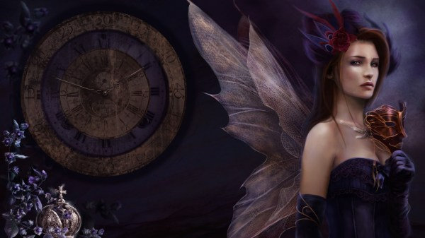 Time Clock Watch Mood Dark Fantasy Art Fairy Wings Mask Gothic Women Redheads Females Girls Face