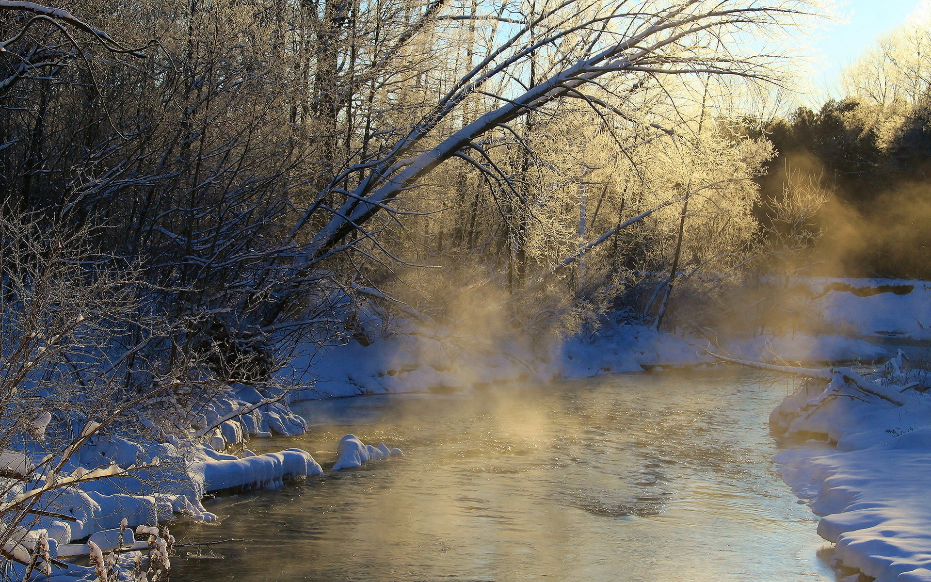 Falling Snow Wallpaper Iphone 5 Mist Fog Nature Landscapes Rivers Stream Sunrise Dawn