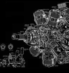 engine diagram bw black aircraft airplane wallpaper [ 1195 x 700 Pixel ]