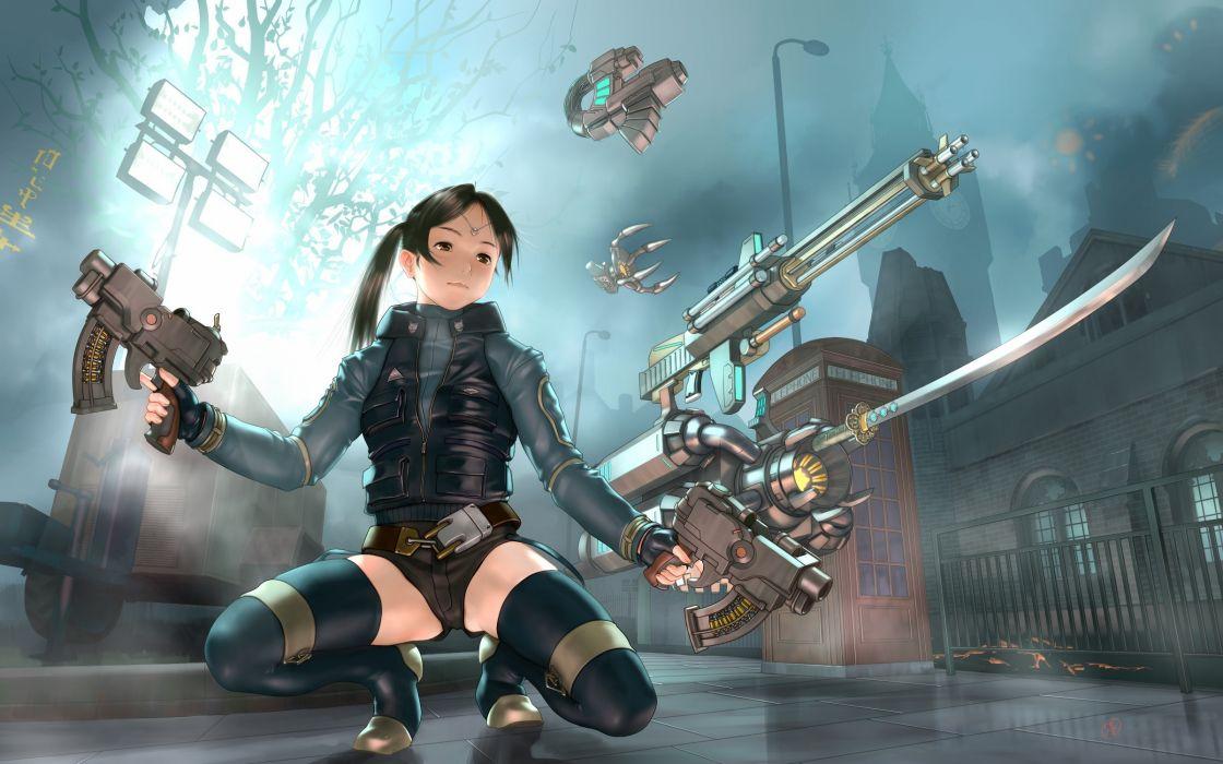 Assault rifle Machine guns Sabre Anime Girls Fantasy
