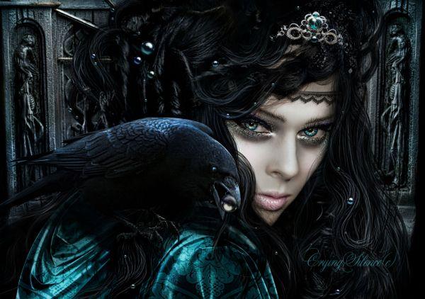 Gothic Crows Glance Brunette Girl Hair Fantasy Girls Dark
