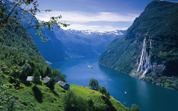 Landscape Fjord Norway Water Sea Ocean Buildings Architecture Houses Mountains Waterfall Sky