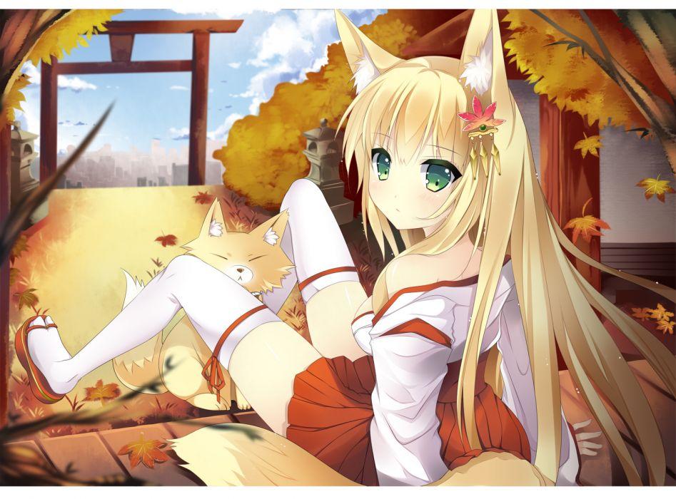 Sad Eyes Girl Wallpaper Animal Animal Ears Autumn Blonde Hair Duji Amo Fox Foxgirl
