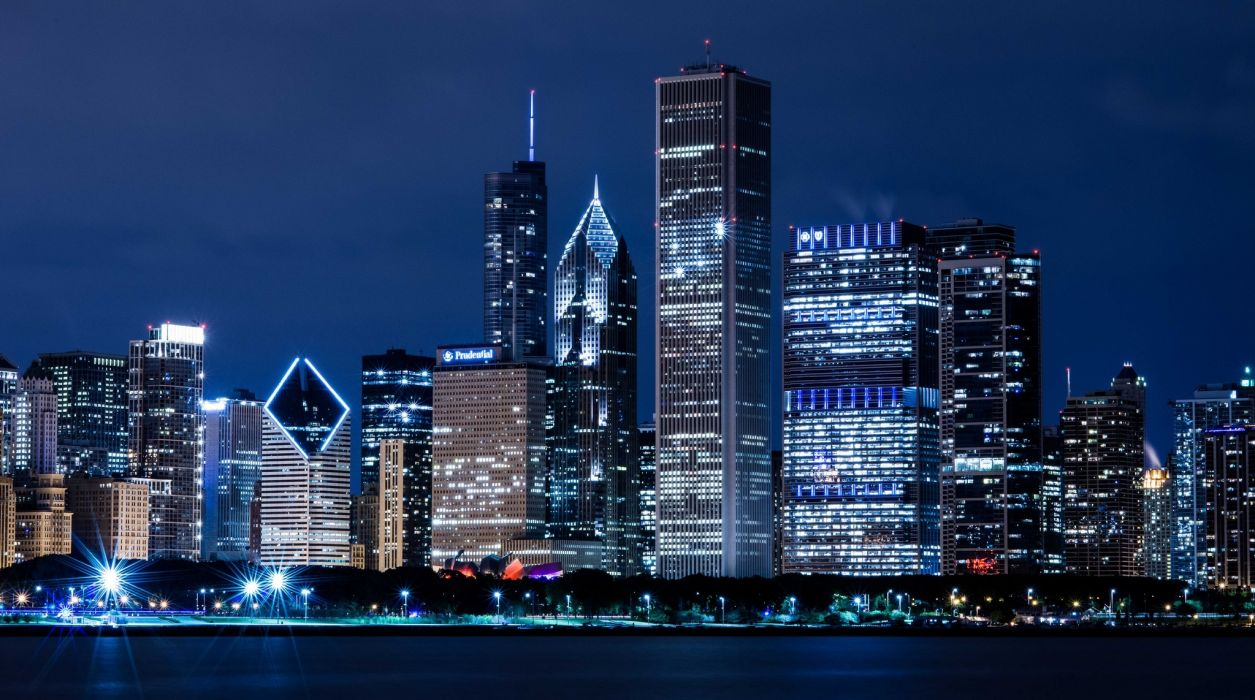 Blue Wallpaper Hd Chicago Illinois Usa Skyscrapers Skyscrapers Houses
