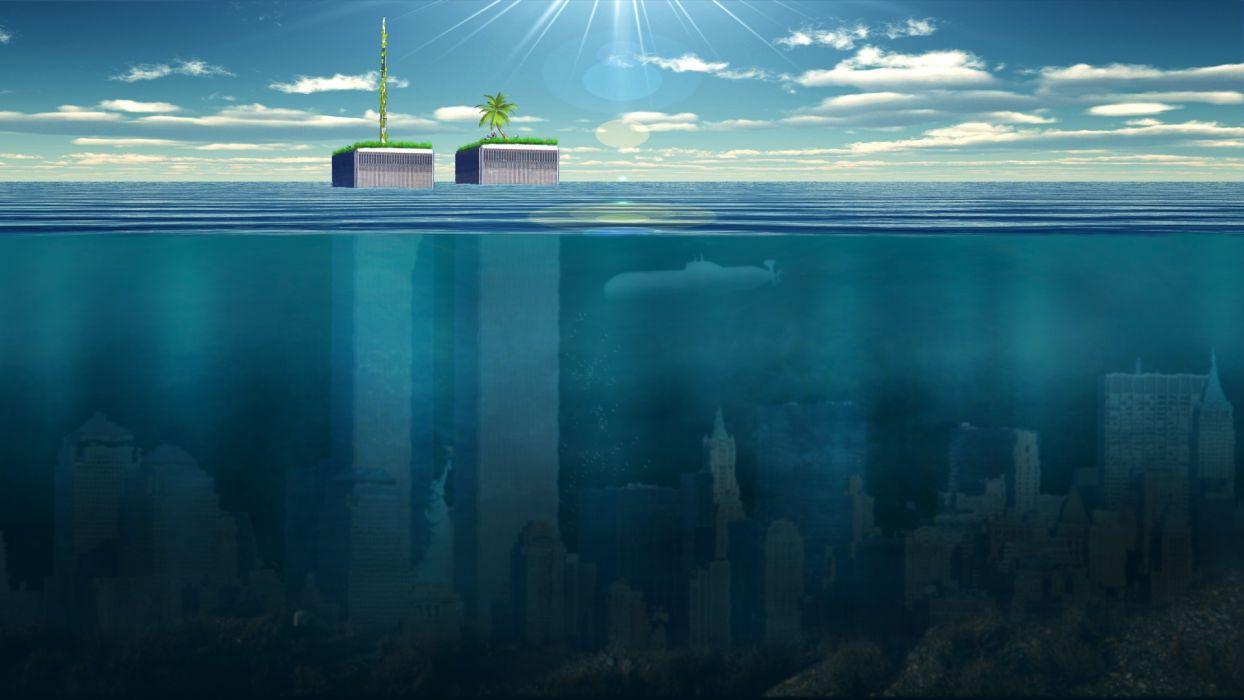 Sci Fi Wallpaper Hd New York Buildings Skyscrapers Underwater Ocean Wallpaper